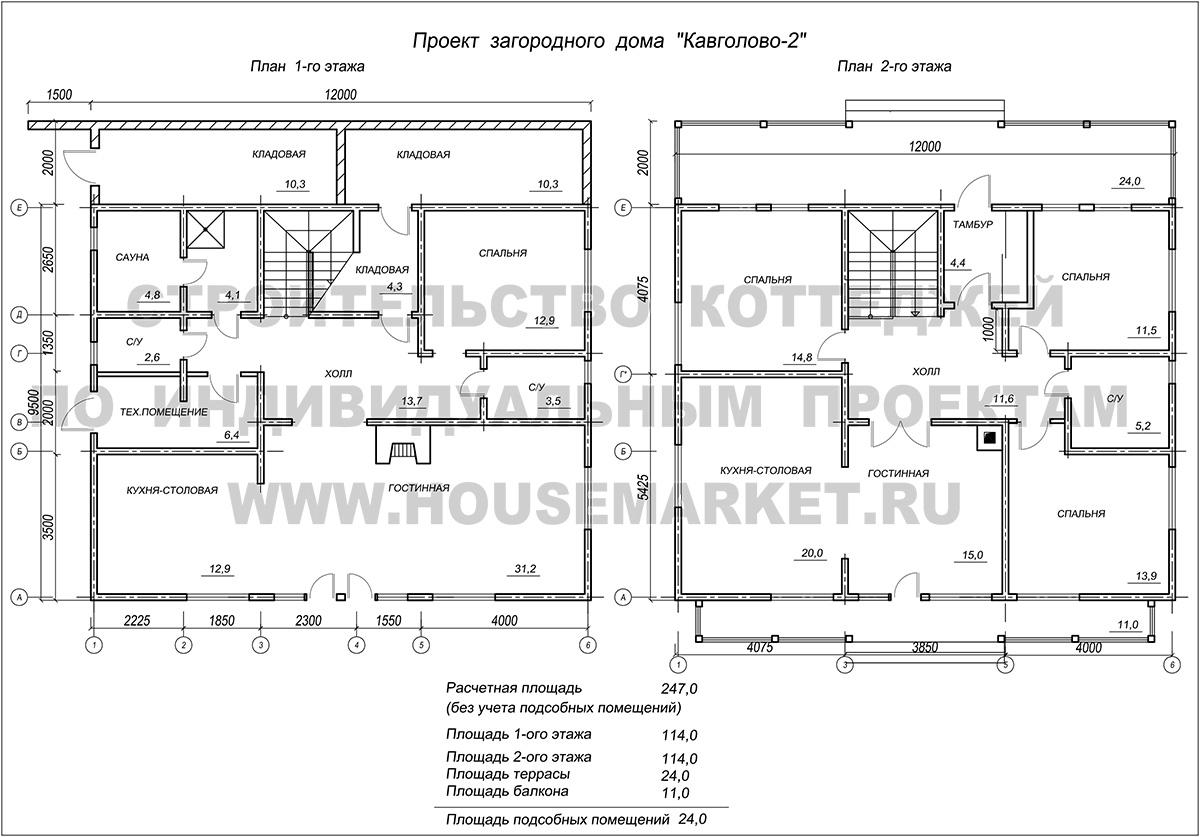 Кавголово-2 планировка Хаус Маркет