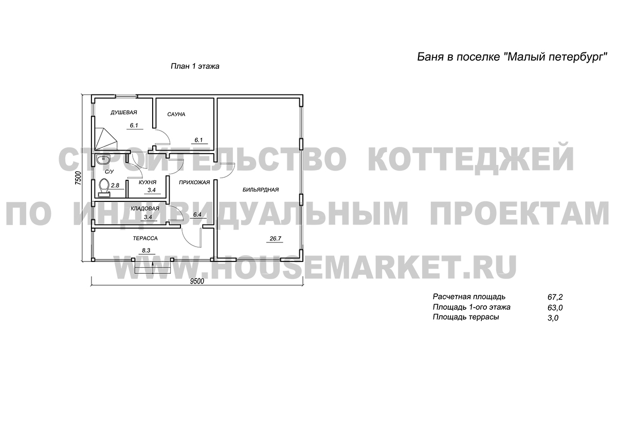 Малый Петербург (баня) планировка ХаусМаркет