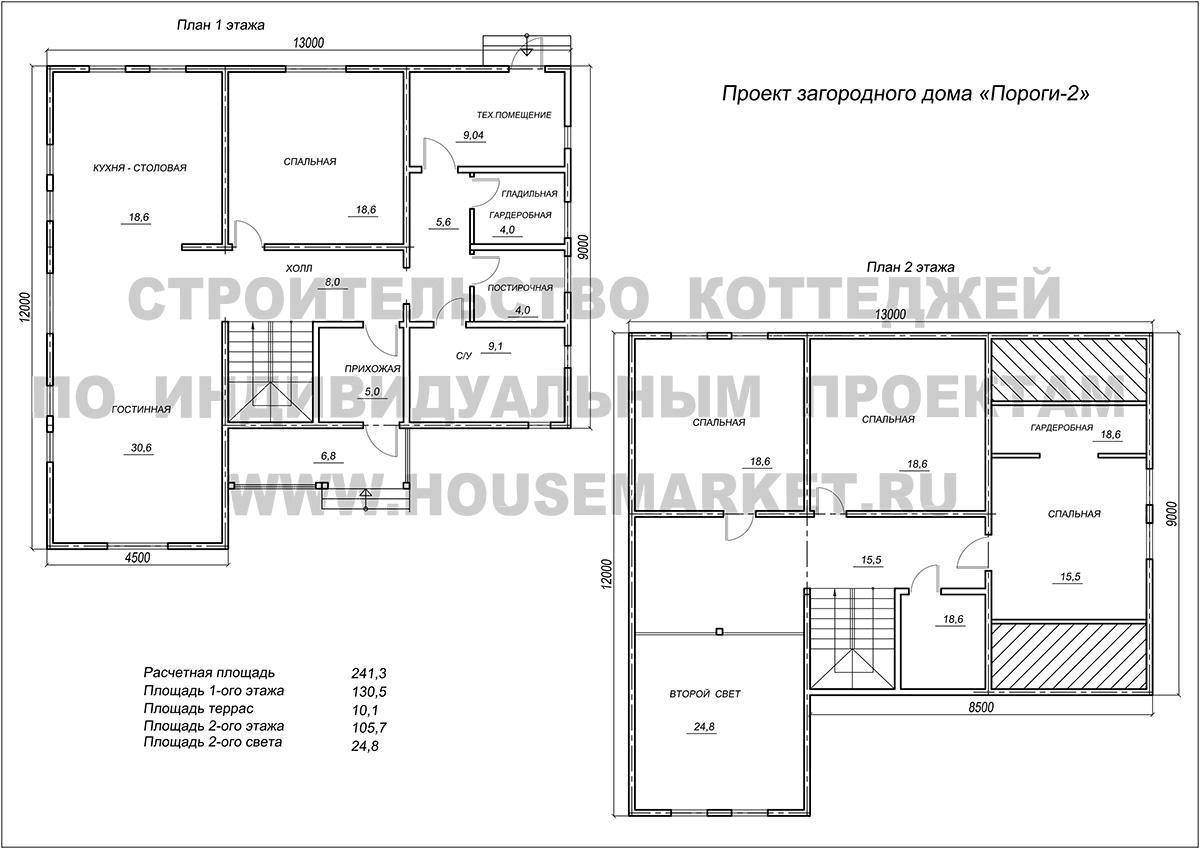 Пороги-2 планировка Хаус Маркет